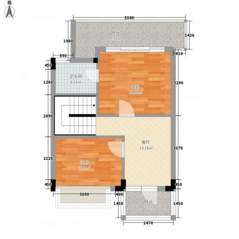 盈彩美地2室1厅1卫0厨132.00㎡户型图