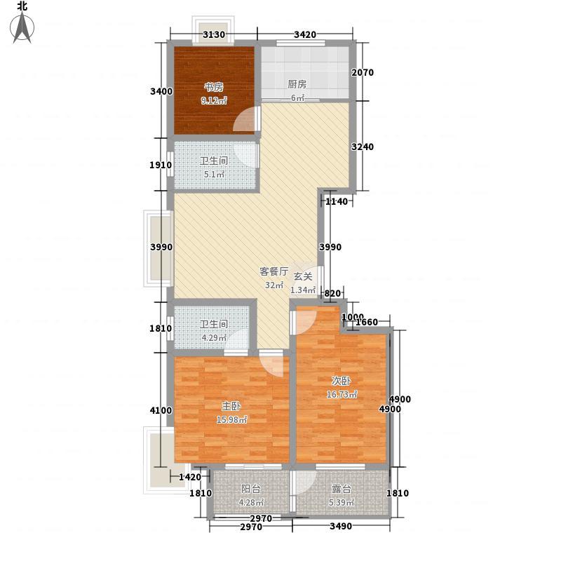 浞景翠园141.00㎡高层E户型3室2厅2卫1厨