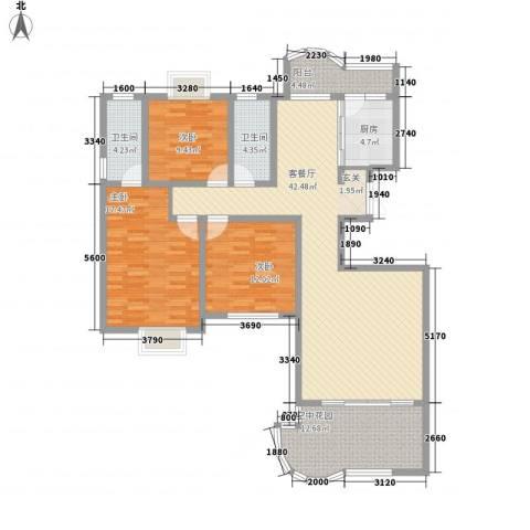 现代逸城3室1厅2卫1厨161.00㎡户型图