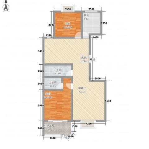现代逸城2室1厅2卫1厨125.00㎡户型图