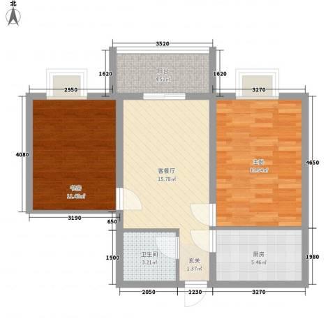 冠宇花园2室1厅1卫1厨78.00㎡户型图