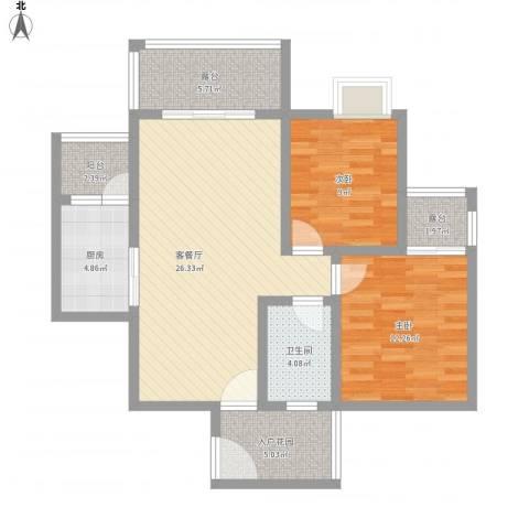 福康瑞琪曼国际社区2室1厅1卫1厨105.00㎡户型图