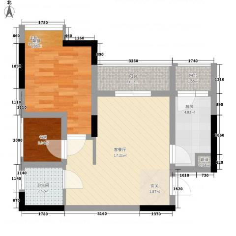 永缘寓乐圈2室1厅1卫1厨42.00㎡户型图