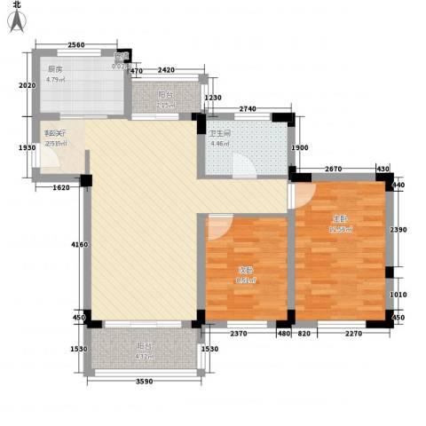 颐养居2室1厅1卫1厨74.00㎡户型图
