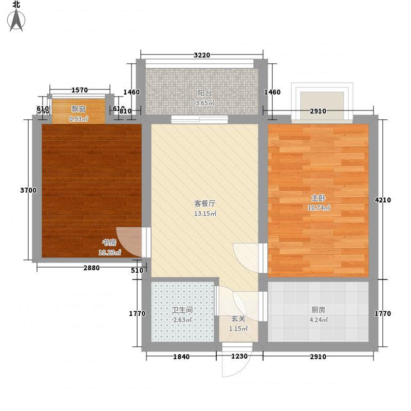 冠宇花园65.00㎡户型2室2厅1卫1厨