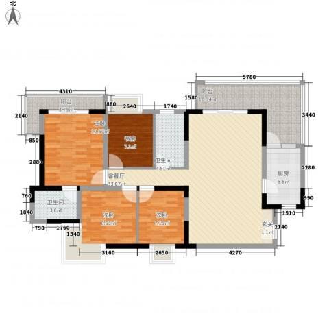 金海广场4室1厅2卫1厨140.00㎡户型图