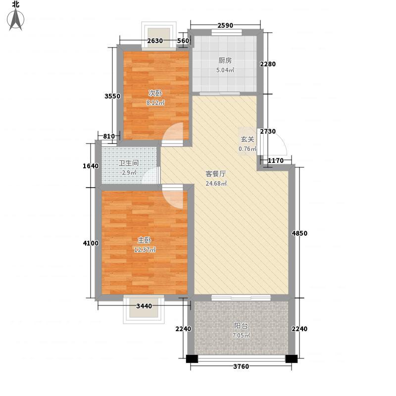 京西花园新城86.00㎡B户型2室1厅1卫1厨