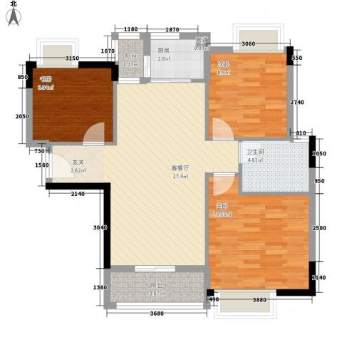 绿湖豪城3室1厅1卫1厨100.00㎡户型图
