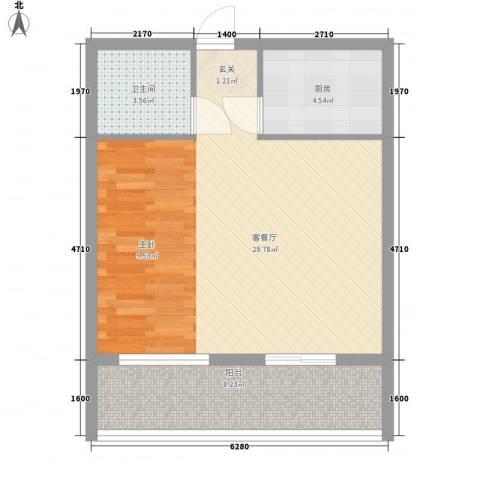 冠宇花园1厅1卫1厨65.00㎡户型图