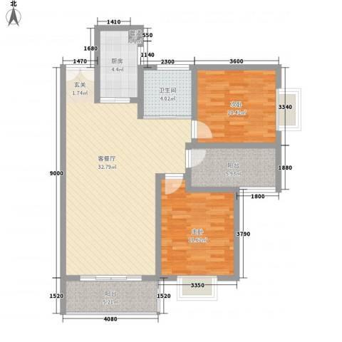 百润・湖滨杰座2室1厅1卫1厨74.49㎡户型图
