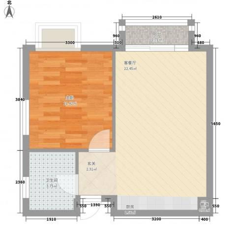 海德公园1室1厅1卫0厨44.53㎡户型图