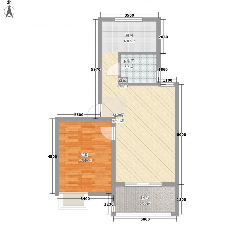 海德公园66.00㎡J2户型1室2厅1卫
