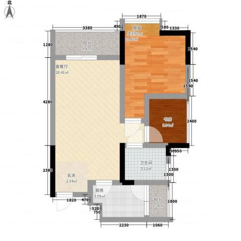 永缘寓乐圈2室1厅1卫1厨47.00㎡户型图
