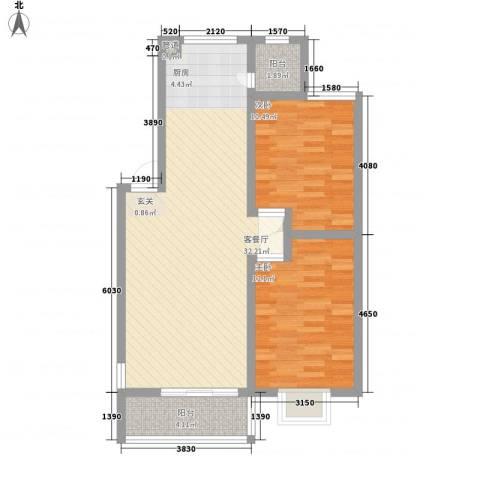 美罗嘉苑2室1厅0卫0厨86.00㎡户型图