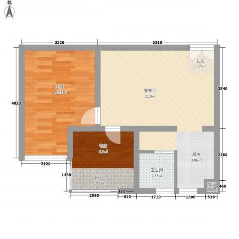 百润・湖滨杰座2室1厅1卫0厨63.00㎡户型图