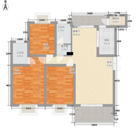 红谷雅苑3室2厅2卫1厨93.00㎡户型图