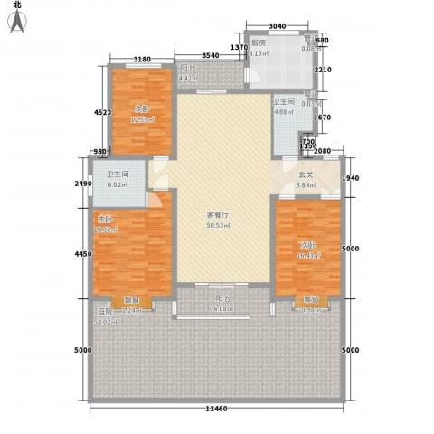 太阳城蓝山园3室1厅2卫1厨250.00㎡户型图