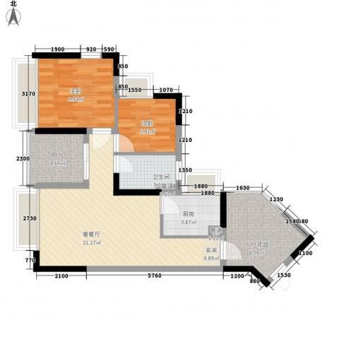 万科金域东郡2室1厅1卫1厨74.00㎡户型图