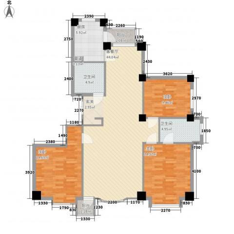 汇利嘉园3室1厅2卫1厨142.00㎡户型图