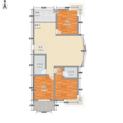 海德公园3室1厅2卫1厨110.44㎡户型图