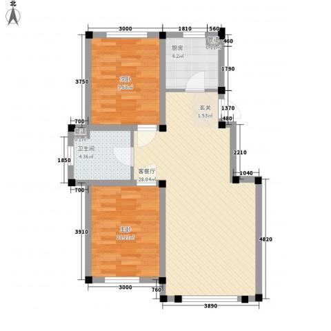 阳光上城雅居2室1厅1卫1厨84.00㎡户型图