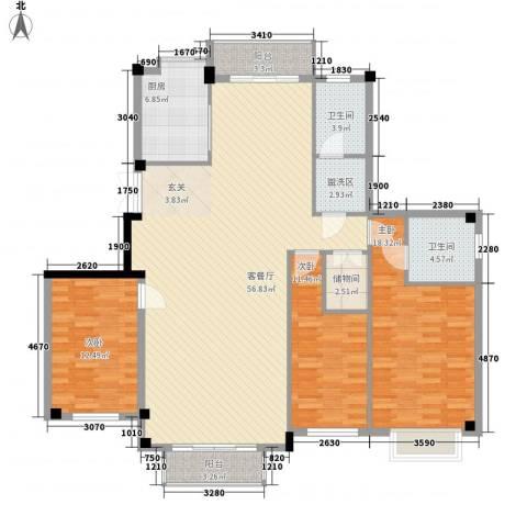 悦泰御景花园3室1厅2卫1厨176.00㎡户型图