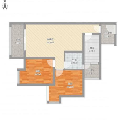 福康瑞琪曼国际社区2室1厅1卫1厨94.00㎡户型图