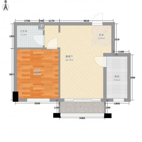 保利海棠花园1室1厅1卫1厨59.00㎡户型图