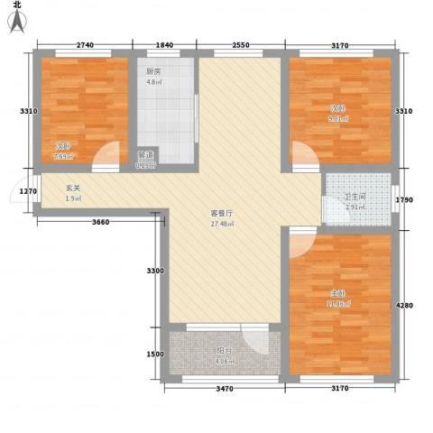 平谷蓝熙庭3室1厅1卫1厨68.00㎡户型图