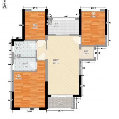 万科翡丽山3室1厅2卫1厨70.20㎡户型图