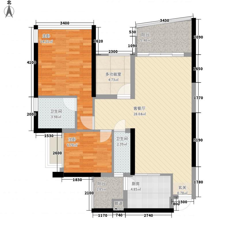 开平骏景湾豪庭88.50㎡一期9幢05户型3室2厅2卫1厨