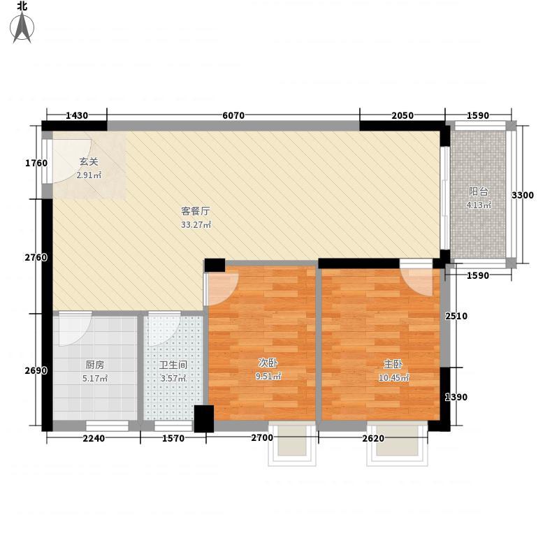 江南豪苑88.32㎡G栋03单位H栋04单位户型2室2厅
