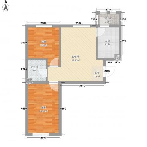 上庄三嘉信苑经济适用房2室1厅1卫1厨48.80㎡户型图