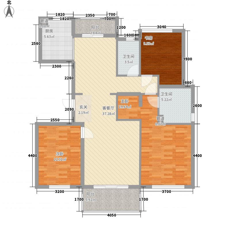 万科翡丽山13.00㎡32-33栋01-02单元A标准层户型3室2厅2卫1厨