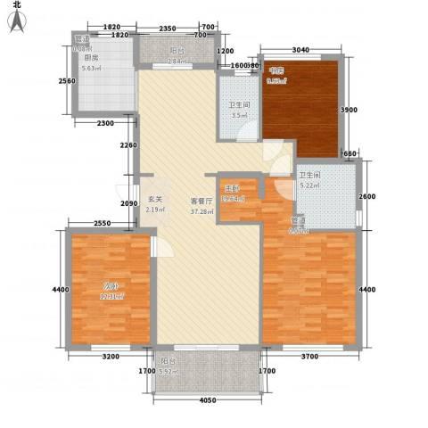 万科翡丽山3室1厅2卫1厨102.02㎡户型图