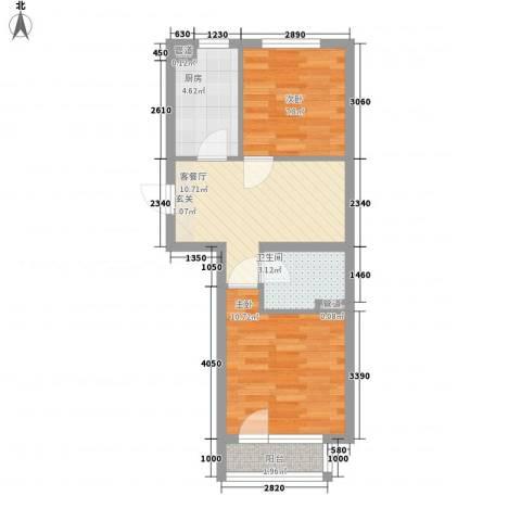 佰世品德2室1厅1卫1厨56.00㎡户型图