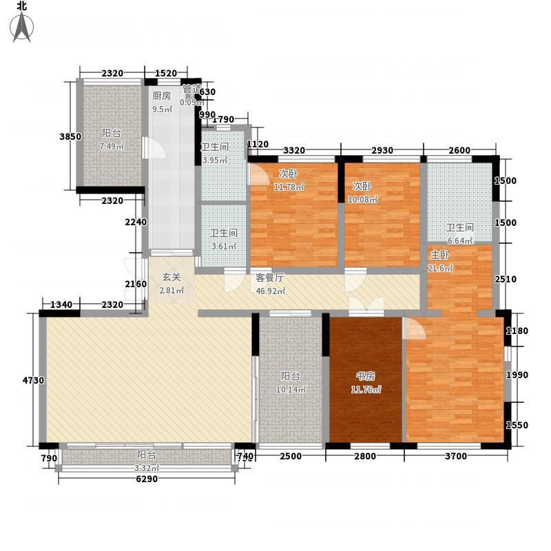 万科翡丽山18.00㎡29栋01-02单元B标准层户型3室2厅3卫1厨