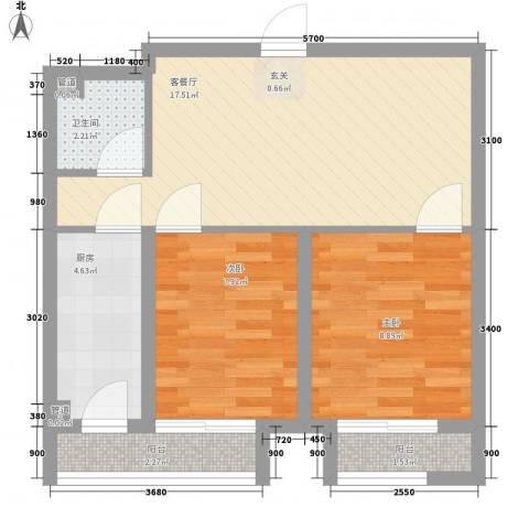 佰世品德2室1厅1卫1厨64.00㎡户型图