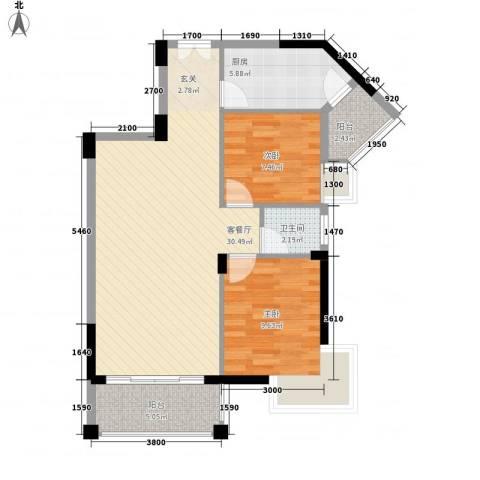 四洲城市经典2室1厅1卫1厨81.00㎡户型图