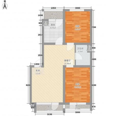 佰世品德2室1厅1卫1厨76.00㎡户型图