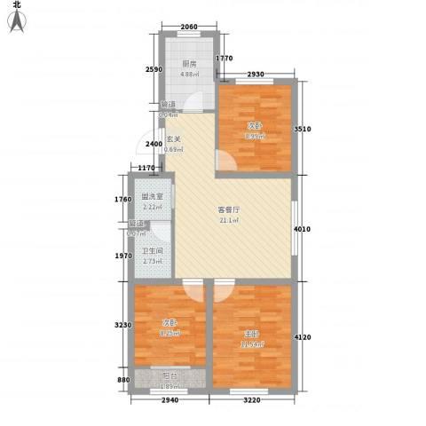 上庄三嘉信苑经济适用房3室2厅1卫1厨61.73㎡户型图