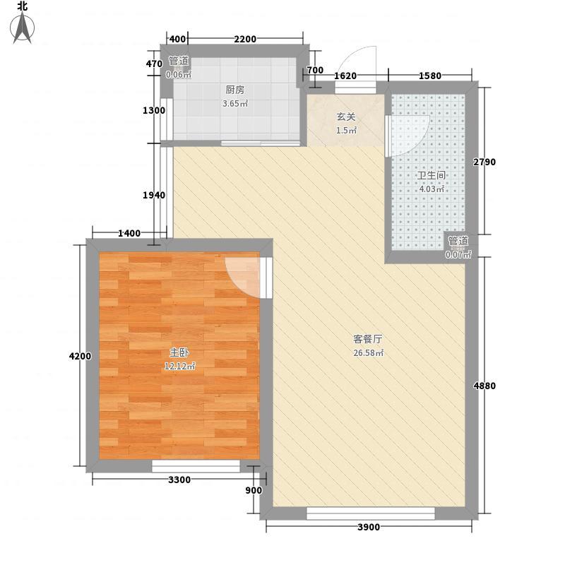潭泽东南明珠66.67㎡5#03户型1室2厅1卫1厨