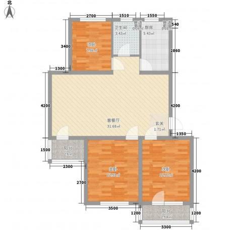 佰世品德3室1厅1卫1厨79.20㎡户型图