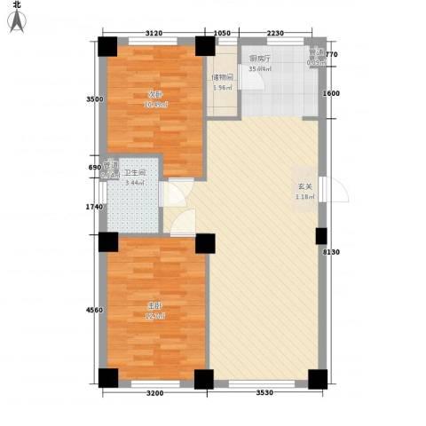东城宜家2室1厅1卫0厨88.00㎡户型图
