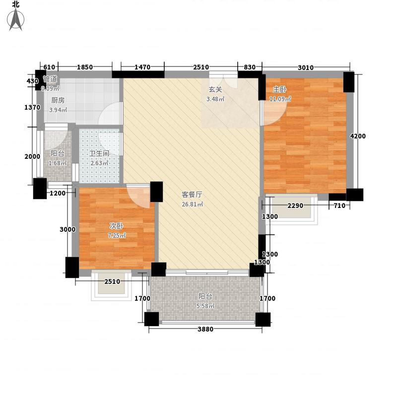 四洲城市经典76.00㎡二期A栋03、04户型2室2厅1卫