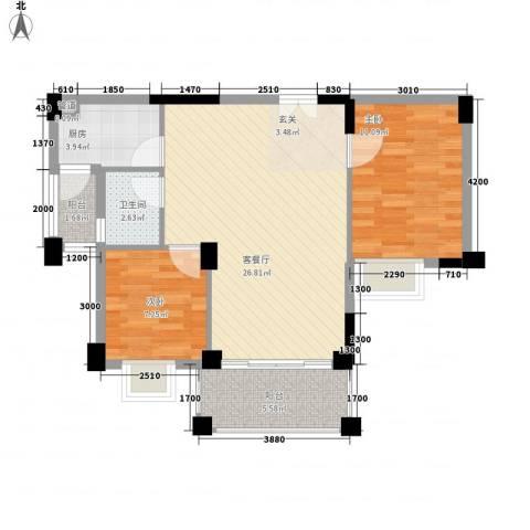 四洲城市经典2室1厅1卫1厨76.00㎡户型图