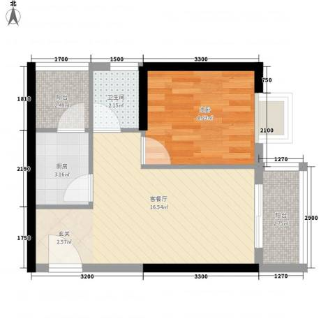江南豪苑1室1厅1卫1厨48.00㎡户型图