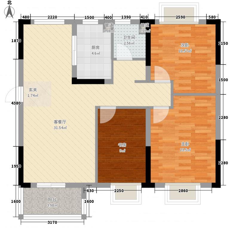 国采光立方14.00㎡2、3、4号楼3D编辑户型3室2厅1卫1厨