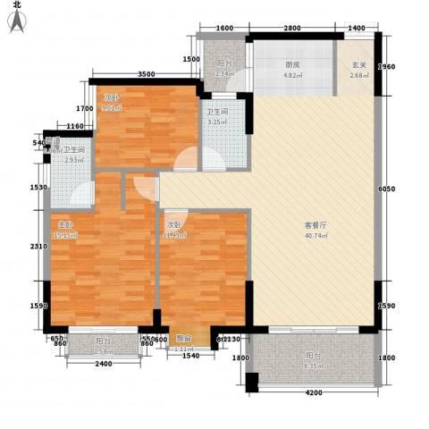 百年汇3室1厅2卫0厨92.85㎡户型图