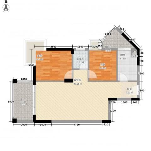 四洲城市经典2室1厅1卫1厨82.00㎡户型图